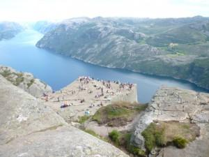 View from the end of the cliff path above Preikestolen